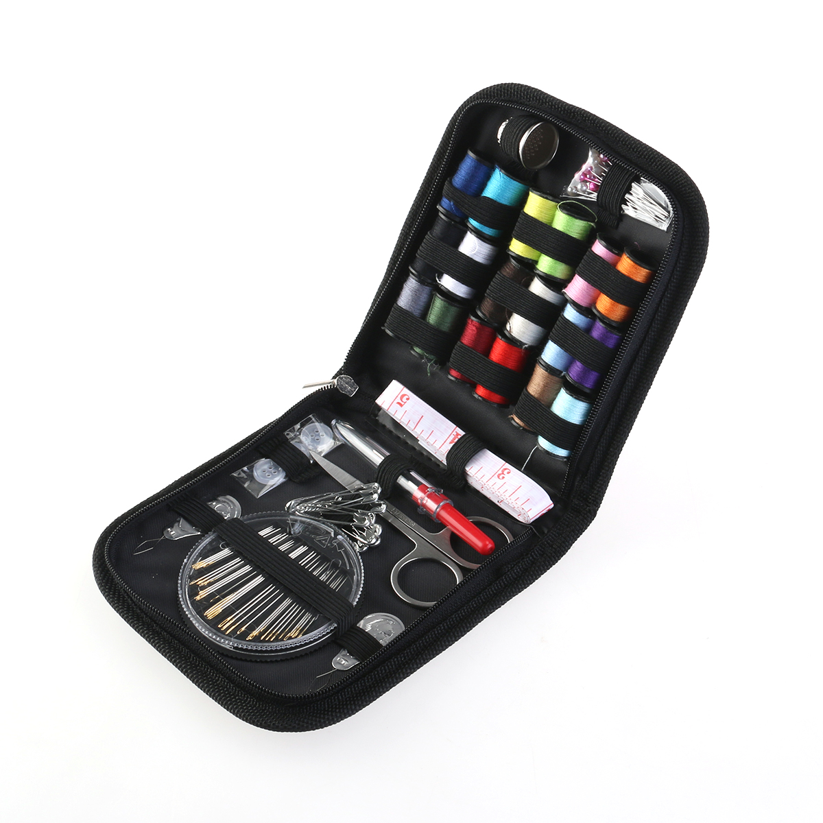 Travel Sewing Kit Needles Thread Scissors Set with Blue Zipper Bag Home Travel Campers Emergency Premium Gift, 58pcs Pack
