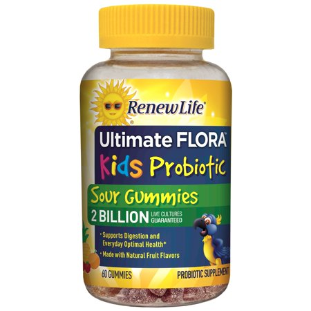 Renew Life - Ultimate Flora Probiotic Sour Gummies - probiotics for kids - 2 Billion - 60 chewable sour