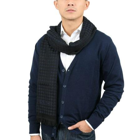 - Versace IT00631 MARINO Navy Blue 100% Wool Mens Scarf
