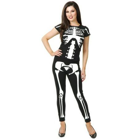 Womens  Black and White Skeleton Leggings and T-Shirt Costume Set (Costume Black And White)