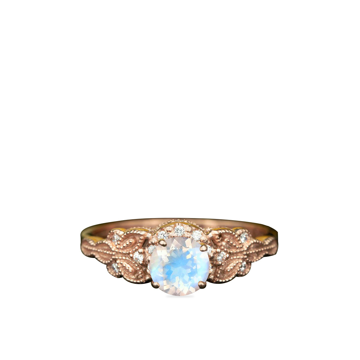 1.25 Carat Round Cut Blue Moonstone And