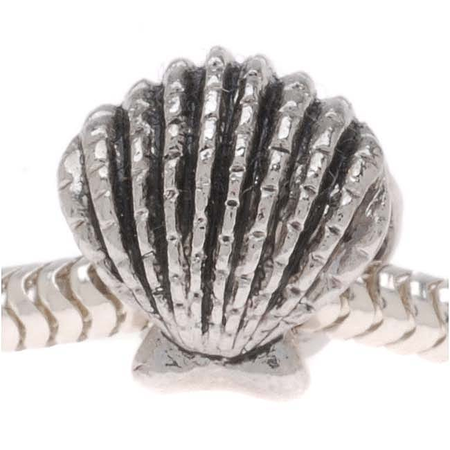 Silver Tone Clam Shell Shaped Bead - European Style Large Hole (1)
