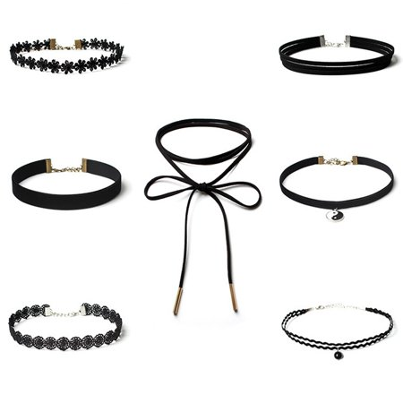 Gothic Tattoos (7PCS Choker Necklace Set Stretch Velvet Classic Gothic Tattoo Lace)
