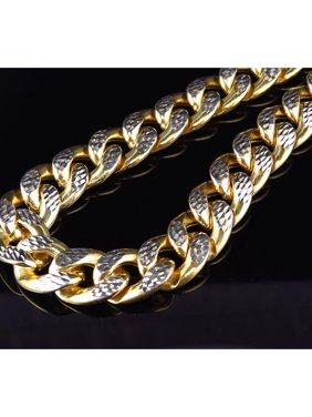 10K Yellow Gold Diamond Cut Miami Cuban Link 12.5MM Chain Necklace 28-36 Inch