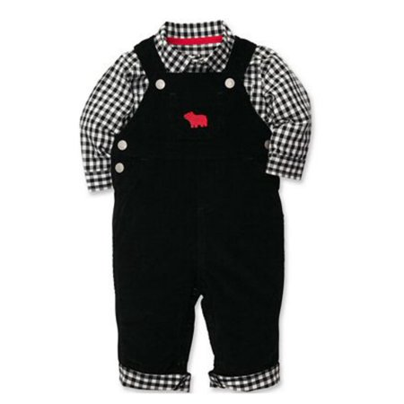 Brown Corduroy Boys Overalls - Carters Infant Boys 2 Piece Outfit Black Bear Corduroy Overalls & Plaid Shirt