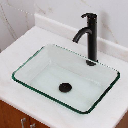 Bathroom Sinks Walmart elimaxs elite rectangular tempered glass vessel bathroom sink