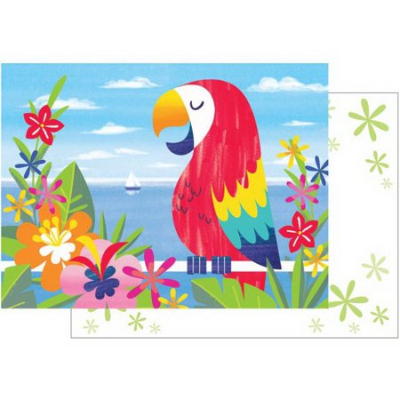 Lush Luau Parrot Flora 8 Ct Invitation Postcards - Luau Invitation Ideas