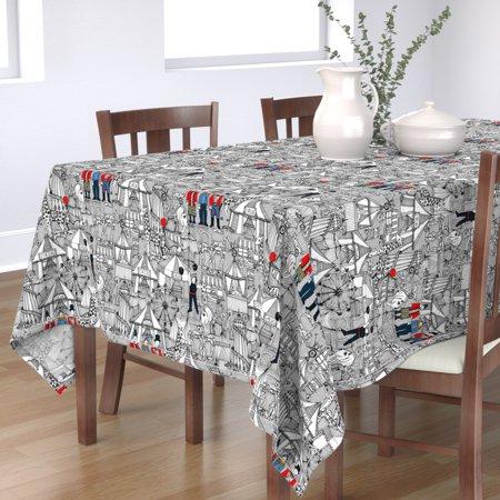 Image of Tablecloth Monochrome Circus Fun Kids Nostalgia Tents Illustration Cotton Sateen