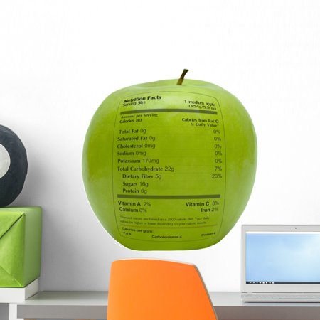 Green Apple Peel (Green Apple with Nutrition Wall Mural by Wallmonkeys Peel and Stick Graphic (18 in H x 17 in W) WM66243)