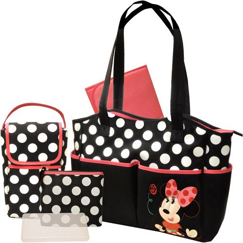 Disney Minnie 4 Piece Diaper Bag Set with Bonus Bottle Bag