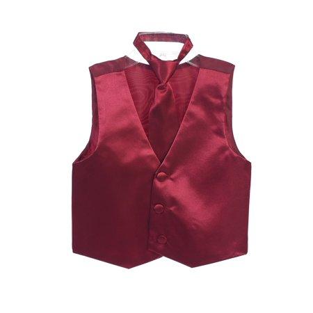 Boys Burgundy Three Button Satin Vest Tie 2 Pc Set