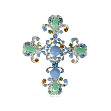 Victorian Sea Foam Sky Blue Bead Crystal Rhinestone Cross Pin Brooch