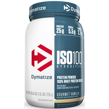 Dymatize ISO 100 Hydrolyzed 100% Whey Protein Isolate Powder, Gourmet Vanilla, 25g Protein/Serving, 1.6