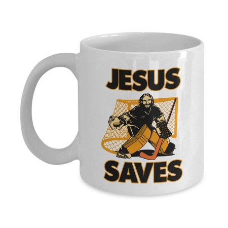 Cool Jesus The Hockey Goalie Saves Coffee & Tea Gift Mug Cup For A Christian Hockey Coach, Player, Lover Or Fan - Hockey Themed Gifts