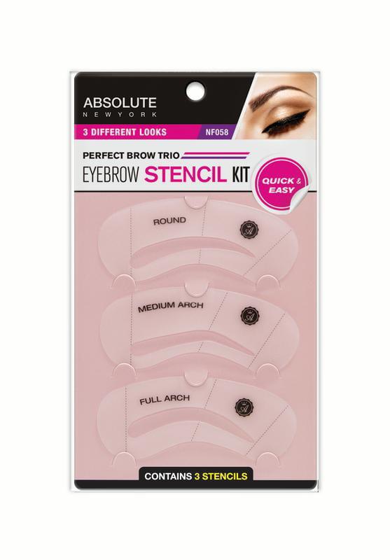 Absolute New York Eye Brow Stencil Kit 3 Ct Walmart