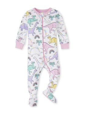 The Children's Place Baby Toddler Girl Long Sleeve Zip-Up Footed Stretchie Pajamas