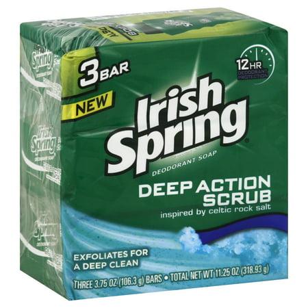 Irish Spring Clean Scrub Deodorant Soap  3 Bars  3 75 Ounce