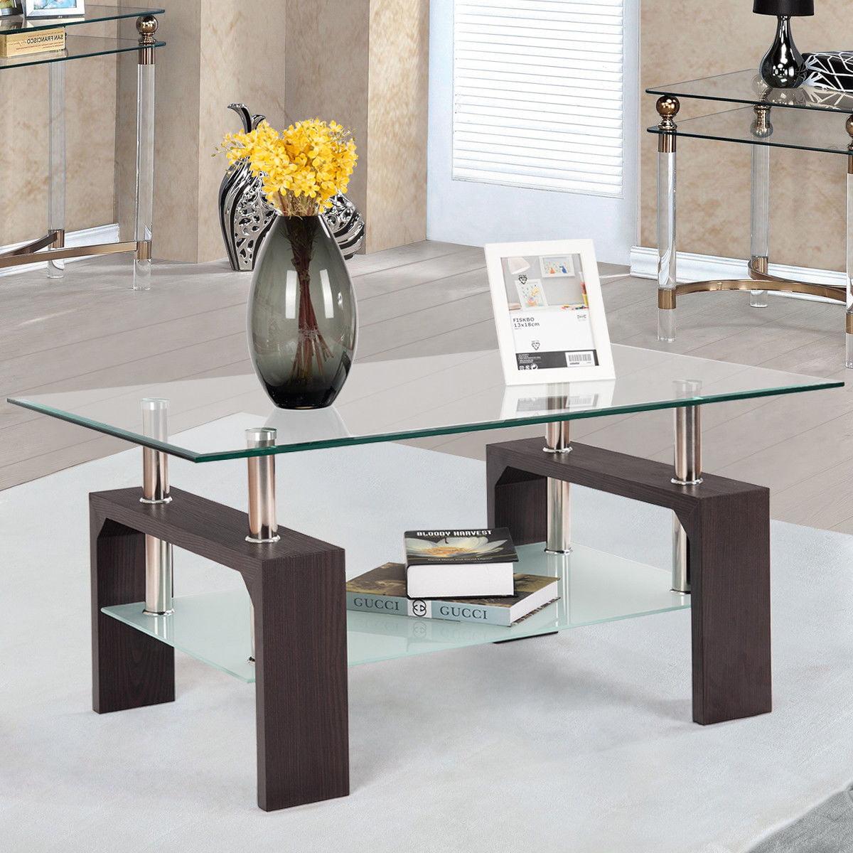 Costway Rectangular Tempered Glass Coffee Table W/Shelf Wood Living Room  Furniture - Walmart.com - Walmart.com