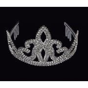 star power royalty queen shiny plastic crown tiara, silver, one size