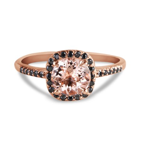 1.25 Carat Peach Pink Morganite (Round cut Morganite) and Black Diamond Engagement Ring in 10k Rose Gold for Women ()