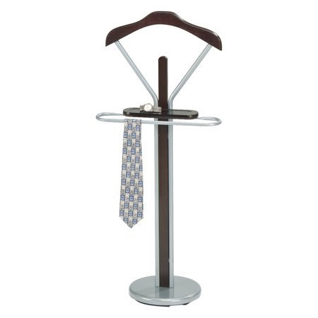 Wood Valet - Frewyn Chrome Metal & Walnut Wood Transitional Cloth, Coat, Suit & Hat Valet Stand Organizer Rack