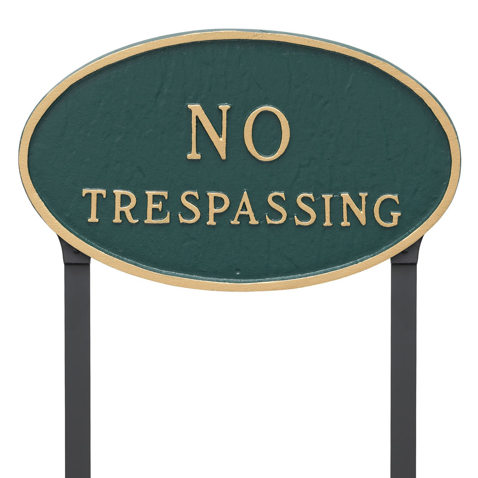 Montague Metal Products No Trespassing Oval Lawn Plaque