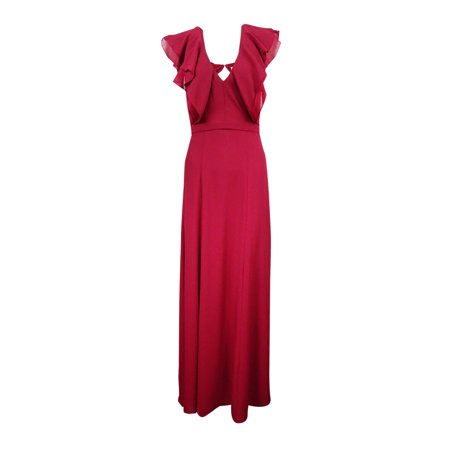 Fame and Partners Women's Ruffle V-Neck Georgette Gown