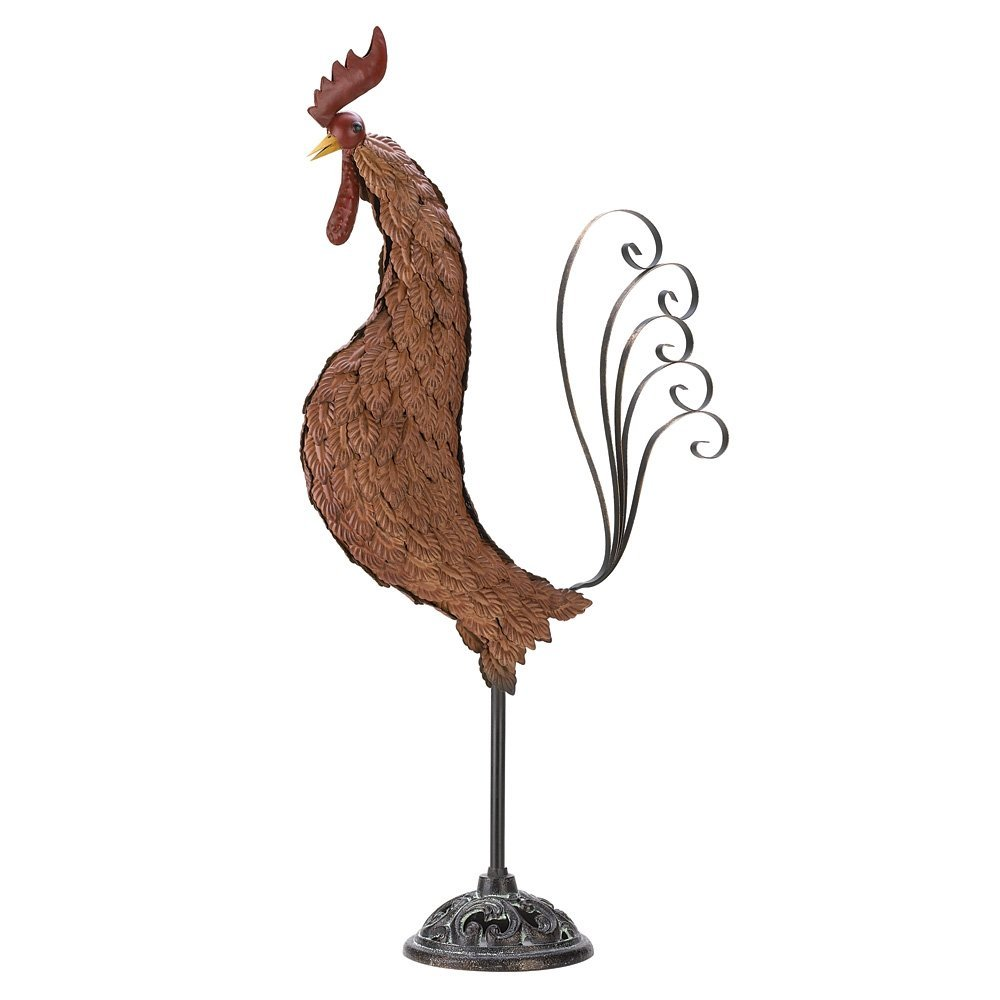 Metal Rooster Wrought Iron Outdoor Garden Yard Statue, Impressive Sculpture  Made From Cast Iron And