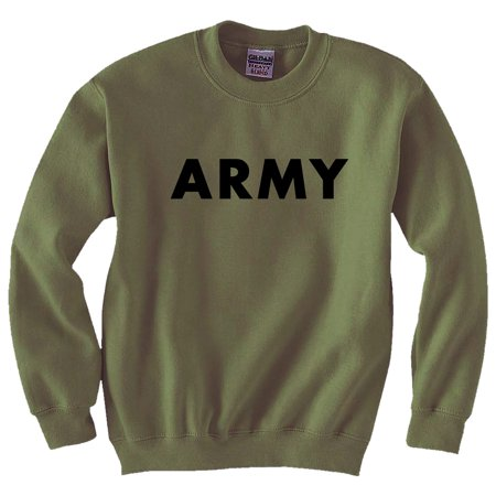 Army Crewneck Sweatshirt - ARMY Crewneck Sweatshirt in Military Green