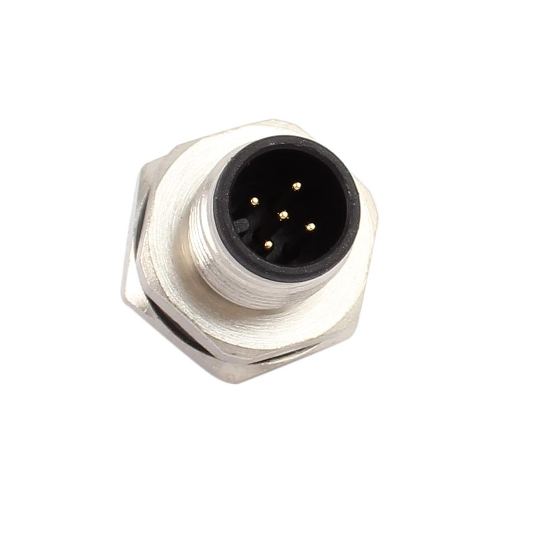 10pcs M12H5J-16A AC250V 4A IP67 Waterproof M12 M/M Metal Connector - image 3 de 4