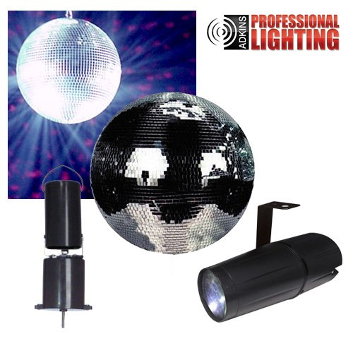 "8"" Disco Mirror Ball Complete Party Kit with LED Pinspot and Motor Dj Lights by Adkins Pro Audio & Lighting"