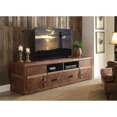 Brown Grained Leather (Acme Aberdeen TV Stand for TVs up to 70
