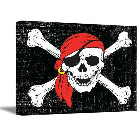 Awkward Styles Skull Wall Decor Jolly Roger Art Skull Canvas Jolly Roger Poster Jolly Roger Pirate and Crossbones Day of Dead Skull Art Skull Gifts