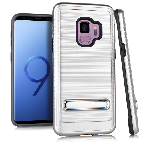 MUNDAZE Silver Brushed Metal Kickstand Case For Samsung Galaxy S9 PLUS Phone