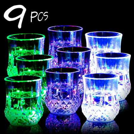 Bar Glasses Funny Cup,IClover [9 PCS] Water Activated Colorful Flashing LED Light Up Shot Glasses Blinking Beer Wine Whisky Vodka Martini Glow Glasses Mugs for Bar Club Mother's Day Party Supplies