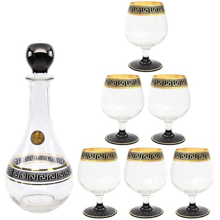 Brandy Decanter Set (ArtDecor Greek Key, 7-pc Liquor, Cognac, Brandy Crystal Decanter Set, 24K)