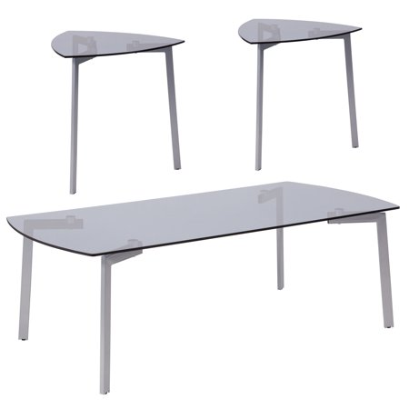 Leg Extension Table Set - Brighton Collection Flash Furniture 3 Piece Coffee and Triangular End Table Set with Smoked Glass Tops and Silver Metal Legs