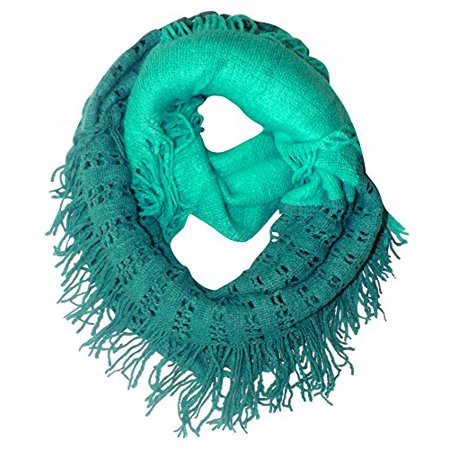 Peach Couture Warm Bohemian Crochet Hand Knitted Fringe Infinity Loop Scarf Wrap