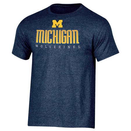 Men's Russell Navy Michigan Wolverines Basic Logo Crew Neck T-Shirt