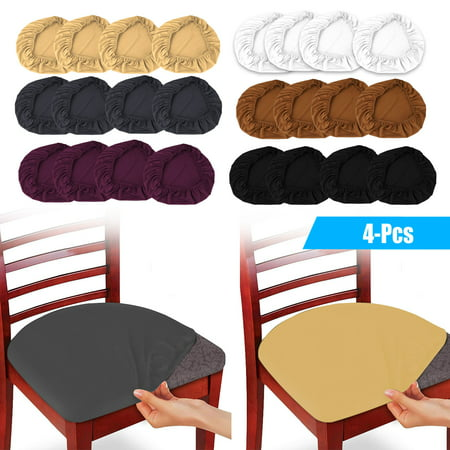 EEEKit 4 Pack Stretch Dining Room Chair Seat Covers, Removable Washable Jacquard Anti-Dust Upholstered Kitchen Chair Seat Cushion Slipcovers, Dining Chair Covers Protectors