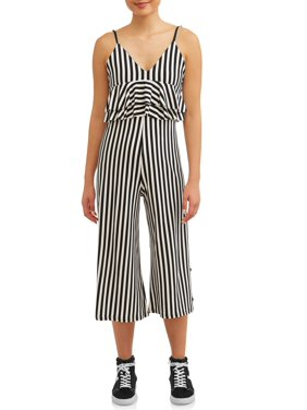 db8d0011d8d Product Image Juniors  Striped Ruffle Flounce Cropped Wide Leg Jumpsuit