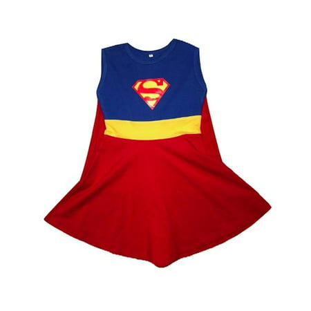 L C Boutique Girls Supergirl Super Hero Casual Play Dress in sizes to fit 2 to 12 - Girl Soper