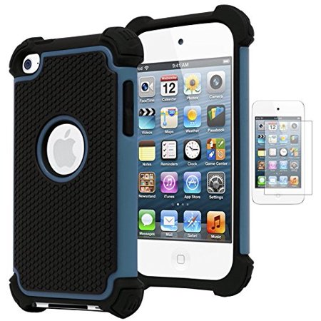 Bastex Hybrid Armor Case for Apple iPod Touch 4, 4th Generation - Blue+BlackINCLUDES SCREEN PROTECTOR (Pig Ipod 4 Case)