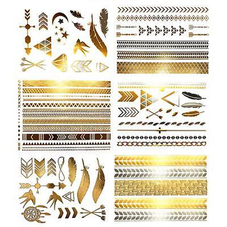 Terra Tattoos Temporary Hair Tattoos - Over 75 Metallic Bohemian Designs in