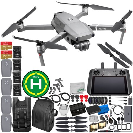 """DJI Mavic 2 Pro Drone Quadcopter with Hasselblad Camera 1"""" CMOS Sensor with Smart Controller Everything-You-Need 4-Battery Bundle"""