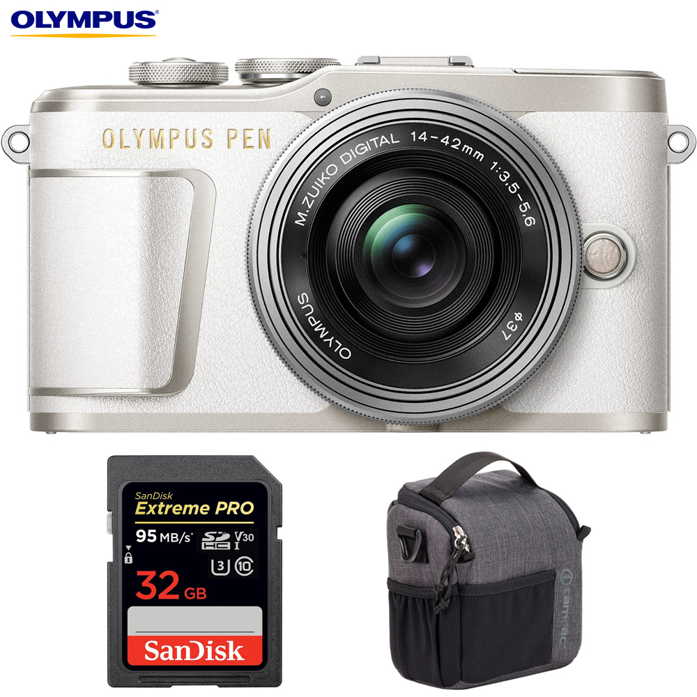 Olympus V205092WU010 PEN E-PL9 16.1 MP Wi-Fi 4K Mirrorless Camera (Pearl White) w  Silver 14-42mm F3.5-5.6 EZ... by Olympus