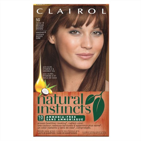 Clairol Natural Instincts Semi-Permanent Hair Color, Medium Golden Brown Pecan,