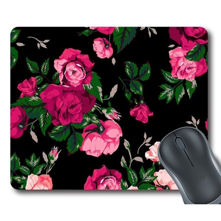 GCKG Red Rose Flower Pink Floral Mouse Pad Personalized Unique Rectangle Gaming Mousepad 9.84