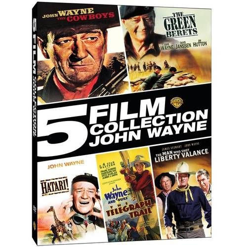 5 Film Colllection: John Wayne - The Cowboys / The Green Berets / Hatari! / The Telegraph Trail / The Man Who Shot Liberty Valance