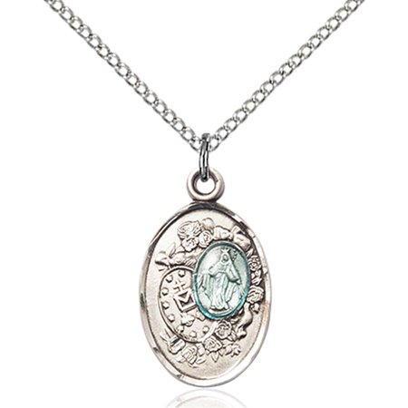 Sterling Silver Miraculous Pendant 3 4 X 1 2 Inches With 18 Inch Sterling Silver Curb Chain
